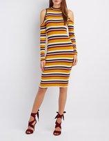 Charlotte Russe Striped Mock Neck Cold Shoulder Dress