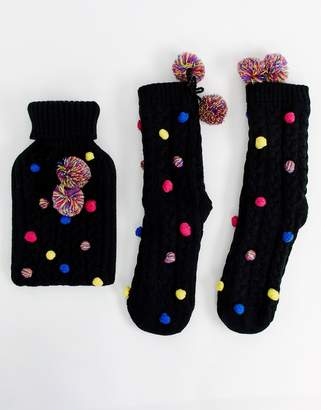 Asos Design DESIGN pom pom hot water bottle and socks pack-Black