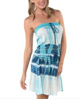 Aqua & Navy Tie-Dye Strapless Dress