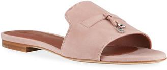 Loro Piana Summer Suede Tassel Slipper Sandals