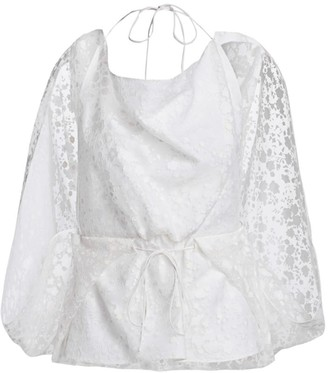 Rosie Assoulin Lace Drawstring Sleeveless Cape Top