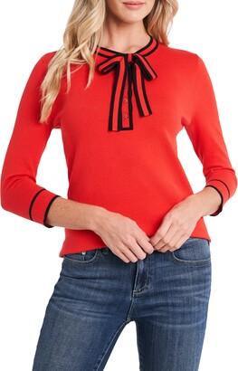 CeCe Tie Neck Henley Sweater