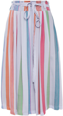 Paul Smith Belted Pleated Striped Crepe De Chine Skirt