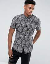 Asos Slim Stretch Shirt With Paisley Print