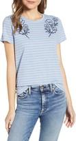 Lucky Brand Stripe Flower T-Shirt