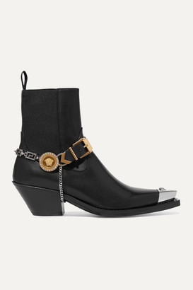 Versace Embellished Leather Ankle Boots - Black