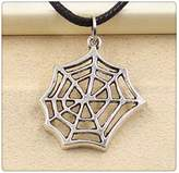Nobrand No brand Fashion Tibetan Silver Pendant cobweb Necklace Choker Charm Black Leather Cord Handmade Jewlery
