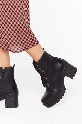 Nasty Gal Womens Walk It Off Lace-Up Heeled Boots - black - 3