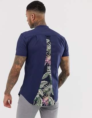 SikSilk short sleeve shirt in navy with grandad collar