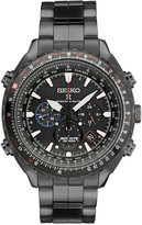Seiko Men's Chronograph Patriots Jet Team Limited Edition Prospex Radio Synch Solar Black Stainless Steel Bracelet Watch 48mm SSG007