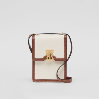 Burberry Cotton Canvas and Leather Robin Bag