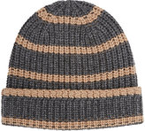 Alex Mill Men's Striped Chunky Rib-Knit Cashmere Beanie-DARK GREY, TAN, LIGHT GREY