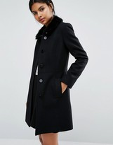 Oasis Faux Fur Collared Swing Coat