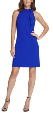 Vince Camuto Petite Tie-Neck Shift Dress