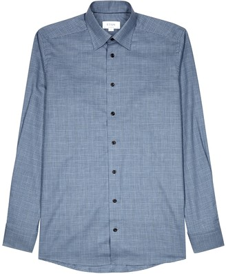 Eton Blue contemporary checked cotton shirt