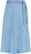 Iris and Ink Marissa tie-waist denim midi skirt