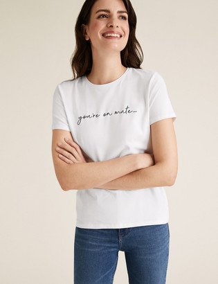 Marks and Spencer Cotton You're On Mute Slogan Fitted T-Shirt