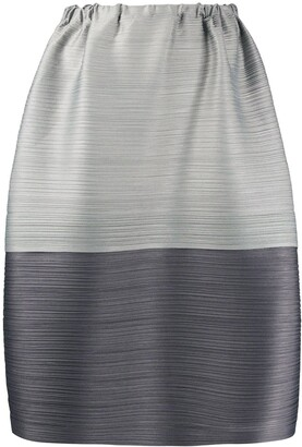 Pleats Please Issey Miyake Micro-Pleated Two-Tone Skirt