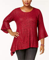 NY Collection Plus Size Asymmetrical-Hem Top