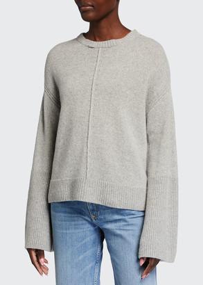 Frame Bell-Sleeve Cashmere Crewneck Sweater