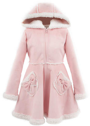 Fabulous Furs Kid's Faux Suede Hooded Princess Coat, Size XXS-L
