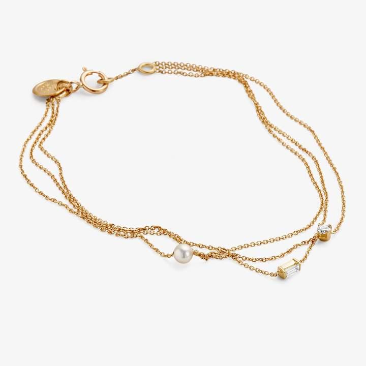 Sweet Pea Diamond & Pearl Gold Layered Bracelet