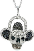 FINE JEWELRY Genuine Black Spinel Skull and Hat Sterling Silver Pendant Necklace