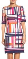 Eliza J Petite Women's Print Jersey Elbow Sleeve Shift Dress