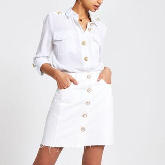 River Island Womens White denim mini skirt