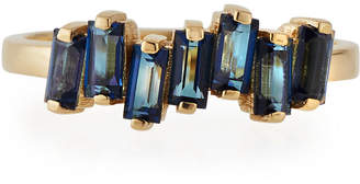 Kalan By Suzanne Kalan Fireworks Baguette Band Ring with English Blue Topaz, Size 6.5