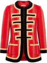 Givenchy Velvet-trimmed Jacket In Red And Gold Tweed - FR36
