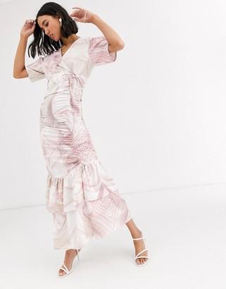 Aeryne Loitia midi dress in shell print-Pink