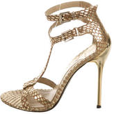 Brian Atwood Metallic Snakeskin Sandals