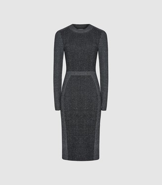 Reiss Juno - Knitted Midi Bodycon Dress in Grey