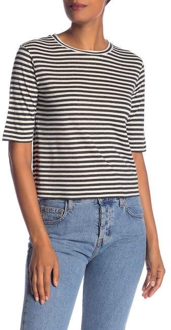 Vince Elbow Sleeve Stripe Silk Blend Tee