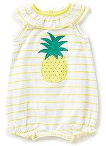 Starting Out Baby Girls Newborn-9 Months Pineapple-Applique Striped Shortall