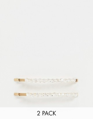 South Beach 2 pack clear embellished hair clip