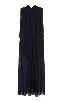Prada Tiered Crepe Midi Dress