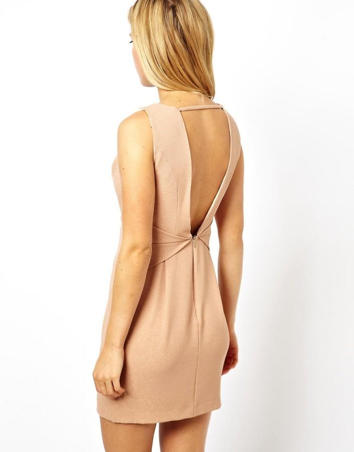 Asos Pleat Waist Deep V Tulip Dress
