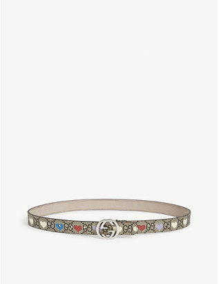 Gucci Kids GG and heart print belt