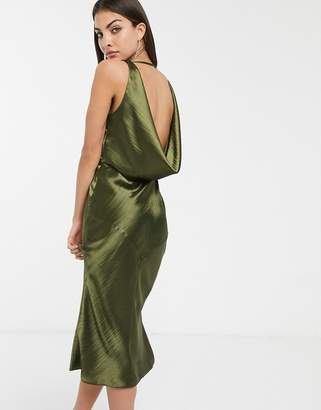 Asos Design DESIGN panelled satin midi dress with cowl back-Green