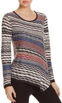 Nic+Zoe Crosswise Asymmetric Stripe Sweater