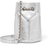 Jerome Dreyfuss Popeye Mini Metallic Textured-leather Bucket Bag - Silver
