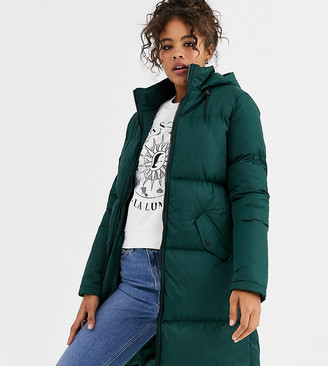 Brave Soul Tall cello long puffer jacket-Green