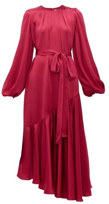 Helena Aje Balloon-sleeve Hammered-silk Dress - Womens - Dark Pink