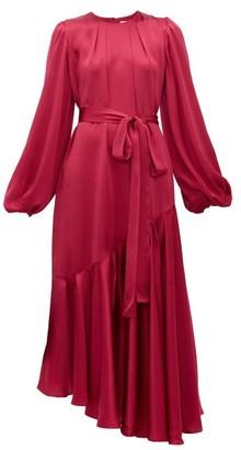 Aje Helena Balloon-sleeve Hammered-silk Dress - Dark Pink
