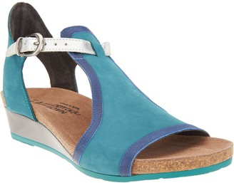 Naot Footwear Leather Wedge Sandals - Fiona