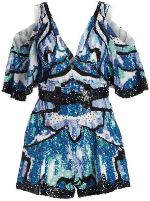 ZUHAIR MURAD Wings Sequin Embroidered Romper