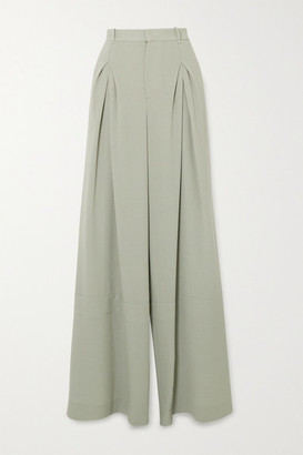 Roland Mouret Valens Pleated Wool-crepe Pants - Green
