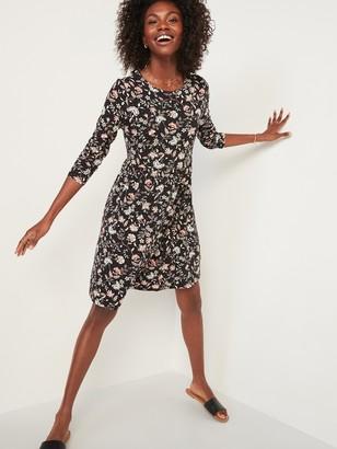 Old Navy Printed Jersey Babydoll Long-Sleeve Swing Dress